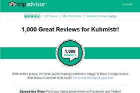 Мы преодолели рубеж 1000 оценок «4» и «5» на сайте отзывов TripAdvisor