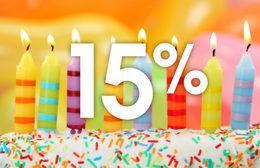 Скидка 15% именинникам в честь дня рождения