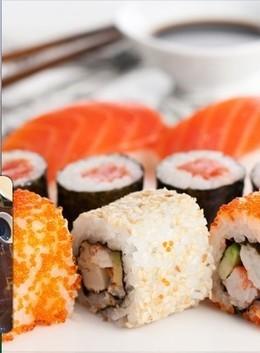 При заказе суши на вынос скидка 20%