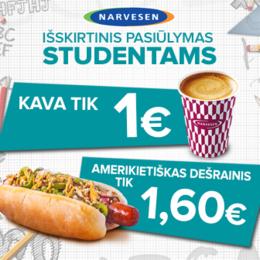 Акция «Покажите студенческий билет и получите американский хот-дог с кофе из Narvesen специальной цене»