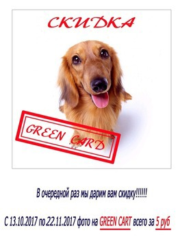 Акция «Фото на GRЕEN CART всего за 5,00 руб.»