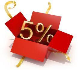 Дополнительная скидка 5% в честь Дня рождения салона