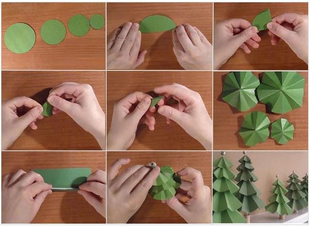 Сделать объемную елочку своими руками из бумаги 3