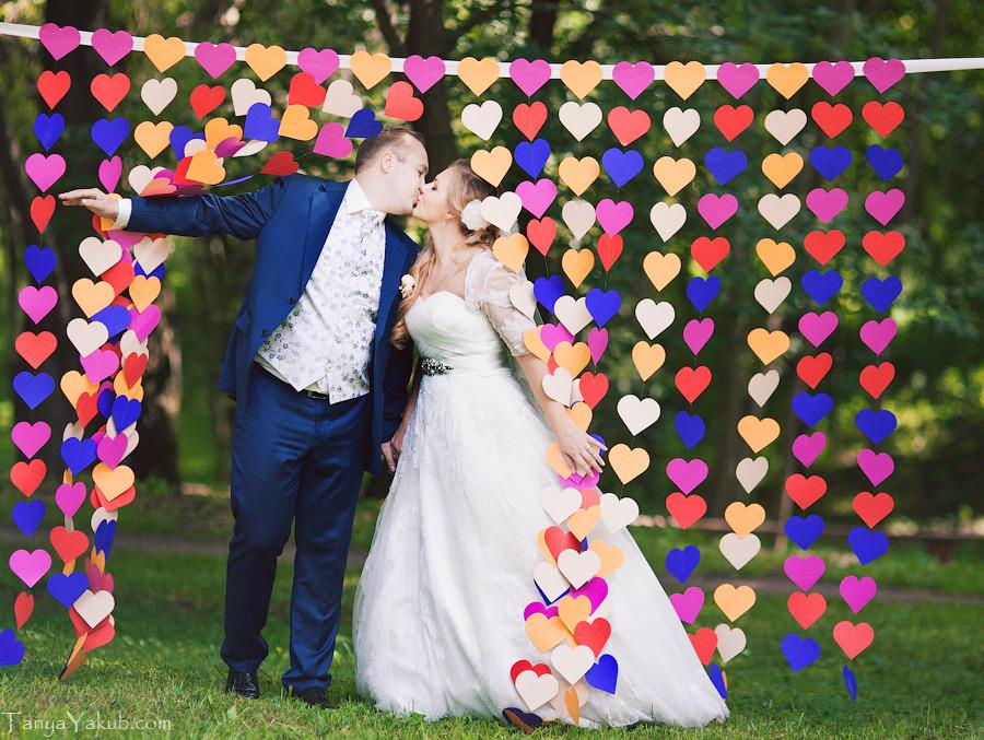 Бумажная гирлянда для свадьбы